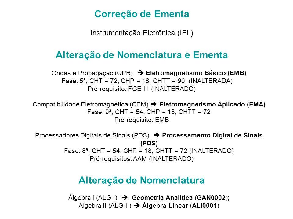 Correção de Ementa Instrumentação Eletrônica (IEL) Alteração de Nomenclatura e Ementa Ondas e Propagação (OPR) Eletromagnetismo Básico (EMB) Fase: 5ª, CHT = 72, CHP = 18, CHTT = 90 (INALTERADA) Pré-requisito: FGE-III (INALTERADO) Compatibilidade Eletromagnética (CEM) Eletromagnetismo Aplicado (EMA) Fase: 9ª, CHT = 54, CHP = 18, CHTT = 72 Pré-requisito: EMB Processadores Digitais de Sinais (PDS) Processamento Digital de Sinais (PDS) Fase: 8ª, CHT = 54, CHP = 18, CHTT = 72 (INALTERADO) Pré-requisitos: AAM (INALTERADO) Alteração de Nomenclatura Álgebra I (ALG-I) Geometria Analítica (GAN0002); Álgebra II (ALG-II) Álgebra Linear (ALI0001)