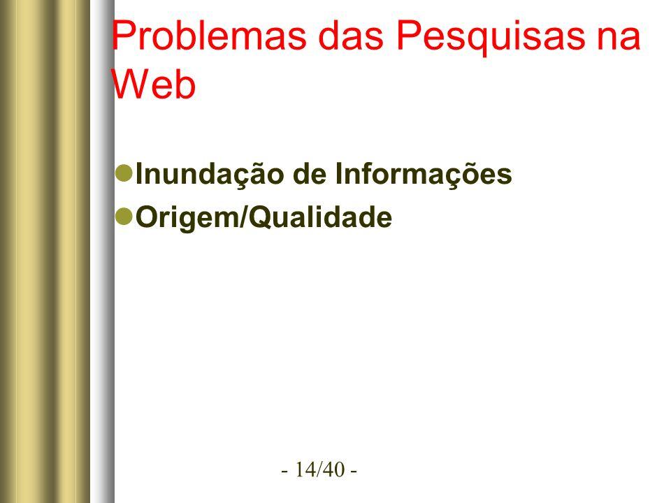 - 14/40 - Problemas das Pesquisas na Web Inundação de Informações Origem/Qualidade