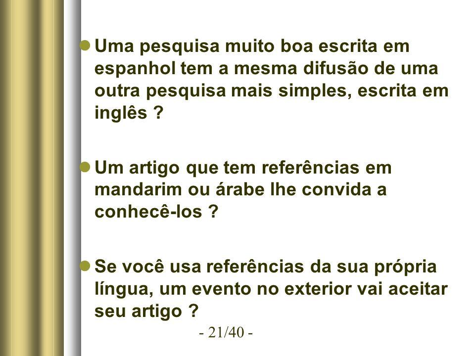 - 21/40 - Uma pesquisa muito boa escrita em espanhol tem a mesma difusão de uma outra pesquisa mais simples, escrita em inglês .