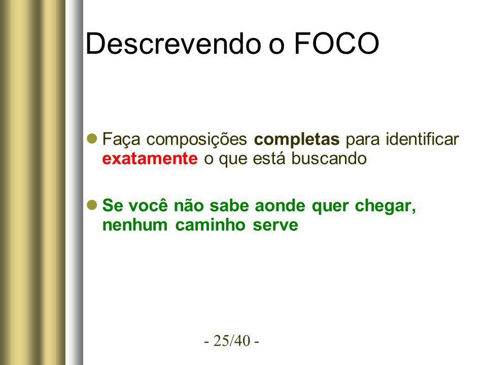 - 25/40 - Descrevendo o FOCO Faça composições completas para identificar exatamente o que está buscando Se você não sabe aonde quer chegar, nenhum caminho serve