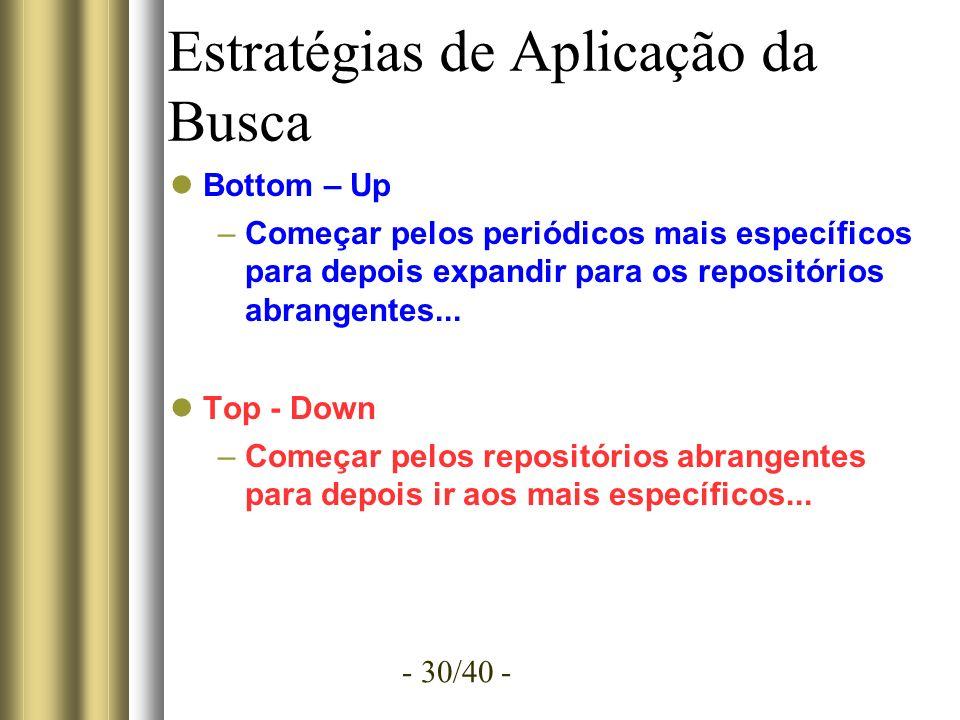 - 30/40 - Estratégias de Aplicação da Busca Bottom – Up –Começar pelos periódicos mais específicos para depois expandir para os repositórios abrangentes...