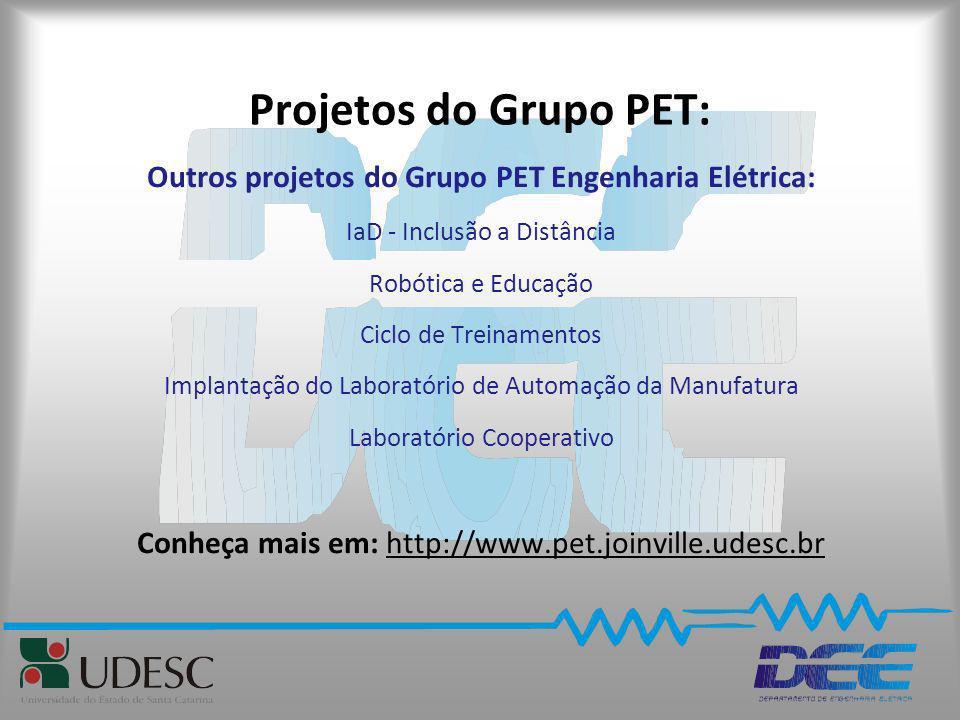 Projetos do Grupo PET: Outros projetos do Grupo PET Engenharia Elétrica: IaD - Inclusão a Distância Robótica e Educação Ciclo de Treinamentos Implanta