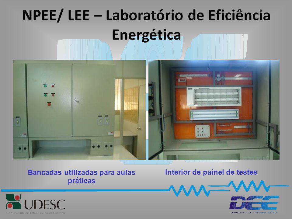 NPEE/ LEE – Laboratório de Eficiência Energética Interior de painel de testes Bancadas utilizadas para aulas práticas