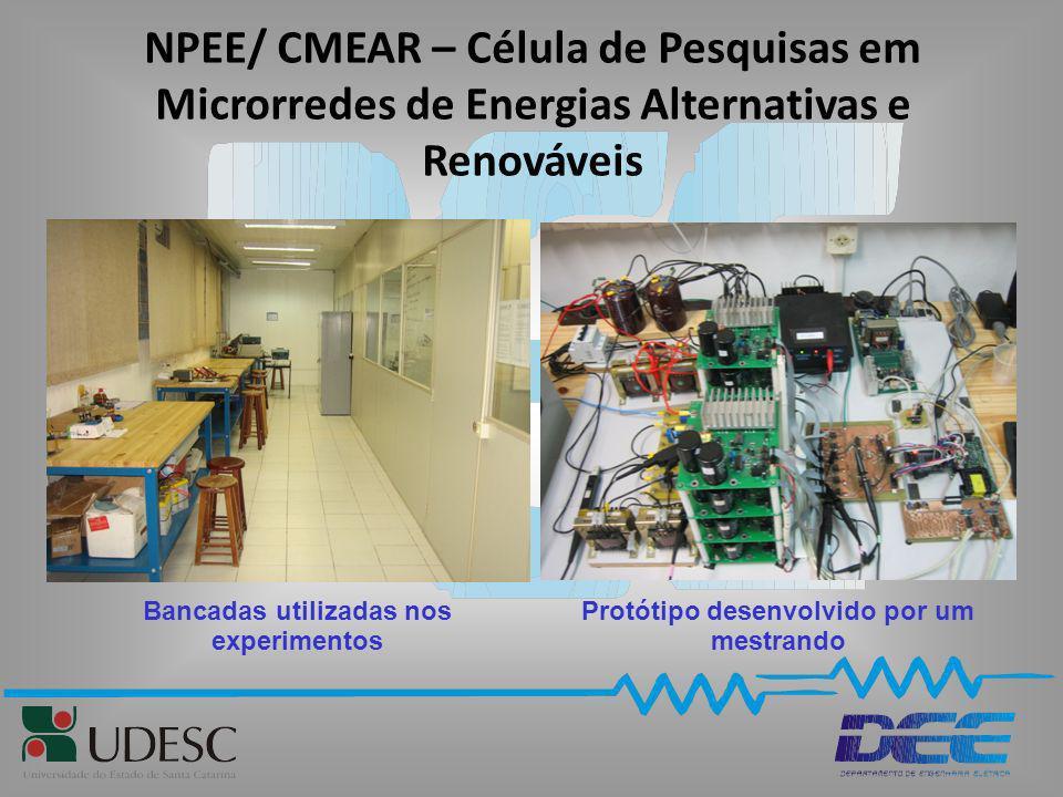NPEE/ CMEAR – Célula de Pesquisas em Microrredes de Energias Alternativas e Renováveis Protótipo desenvolvido por um mestrando Bancadas utilizadas nos