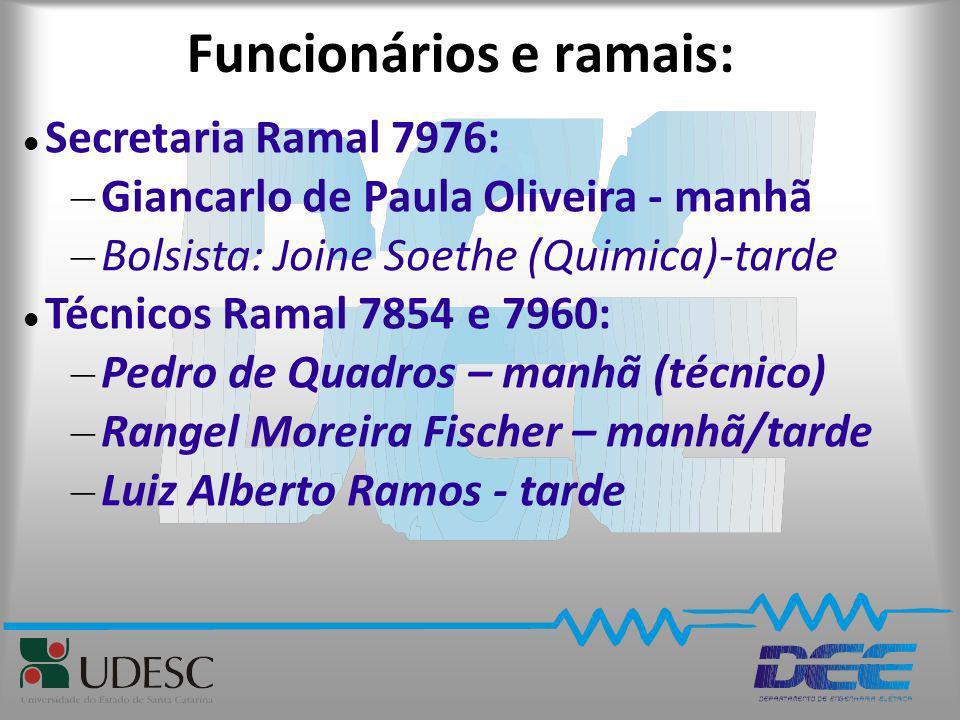Funcionários e ramais: Secretaria Ramal 7976: – Giancarlo de Paula Oliveira - manhã – Bolsista: Joine Soethe (Quimica)-tarde Técnicos Ramal 7854 e 796