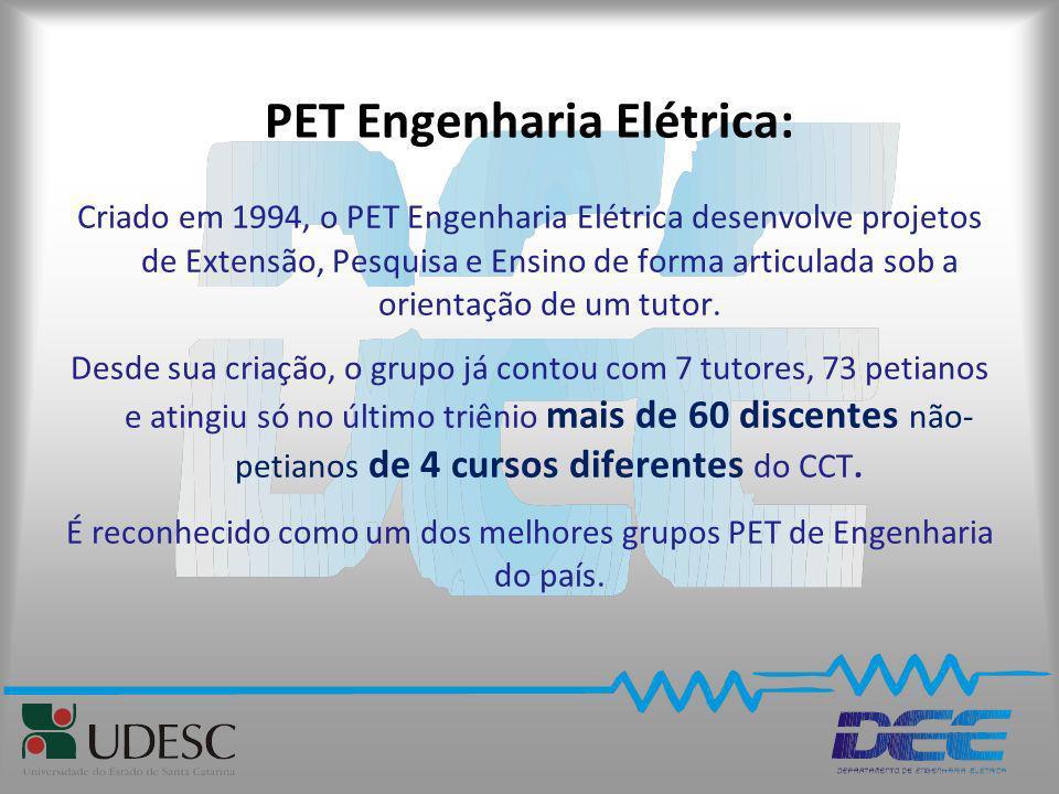 PET Engenharia Elétrica: Criado em 1994, o PET Engenharia Elétrica desenvolve projetos de Extensão, Pesquisa e Ensino de forma articulada sob a orient