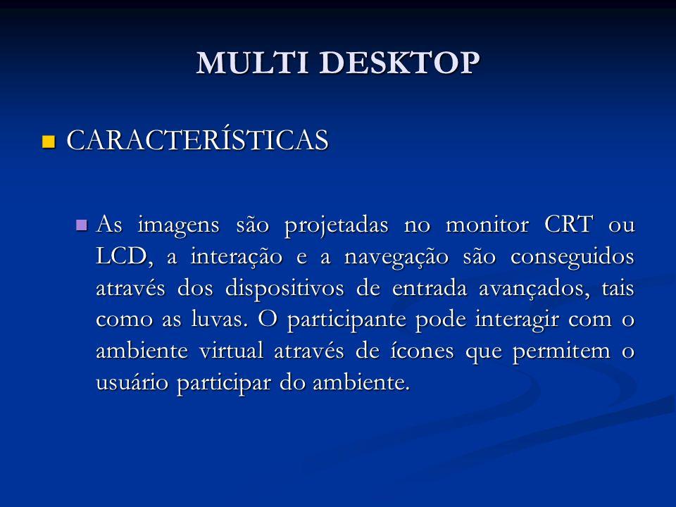 MULTI DESKTOP CARACTERÍSTICAS CARACTERÍSTICAS As imagens são projetadas no monitor CRT ou LCD, a interação e a navegação são conseguidos através dos d