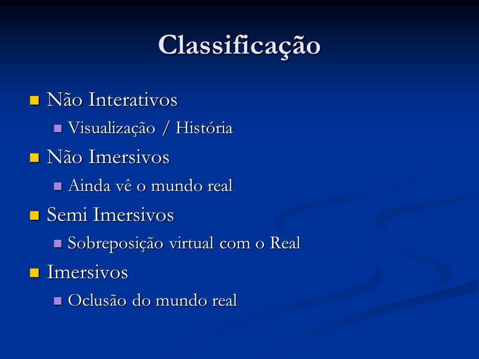 Classificação Não Interativos Não Interativos Visualização / História Visualização / História Não Imersivos Não Imersivos Ainda vê o mundo real Ainda