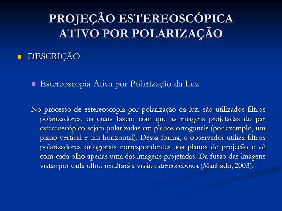 PROJEÇÃO ESTEREOSCÓPICA ATIVO POR POLARIZAÇÃO DESCRIÇÃO DESCRIÇÃO Estereoscopia Ativa por Polarização da Luz No processo de estereoscopia por polariza
