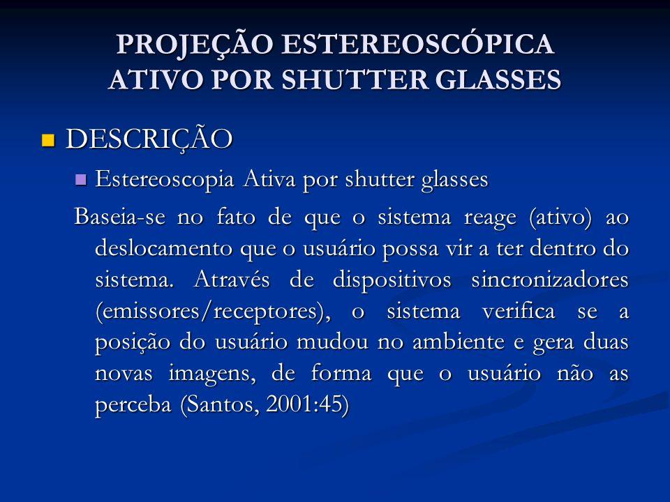PROJEÇÃO ESTEREOSCÓPICA ATIVO POR SHUTTER GLASSES DESCRIÇÃO DESCRIÇÃO Estereoscopia Ativa por shutter glasses Estereoscopia Ativa por shutter glasses