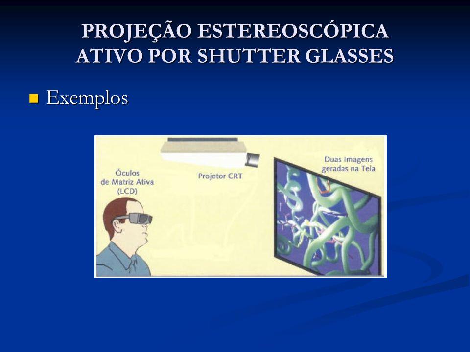 PROJEÇÃO ESTEREOSCÓPICA ATIVO POR SHUTTER GLASSES Exemplos Exemplos