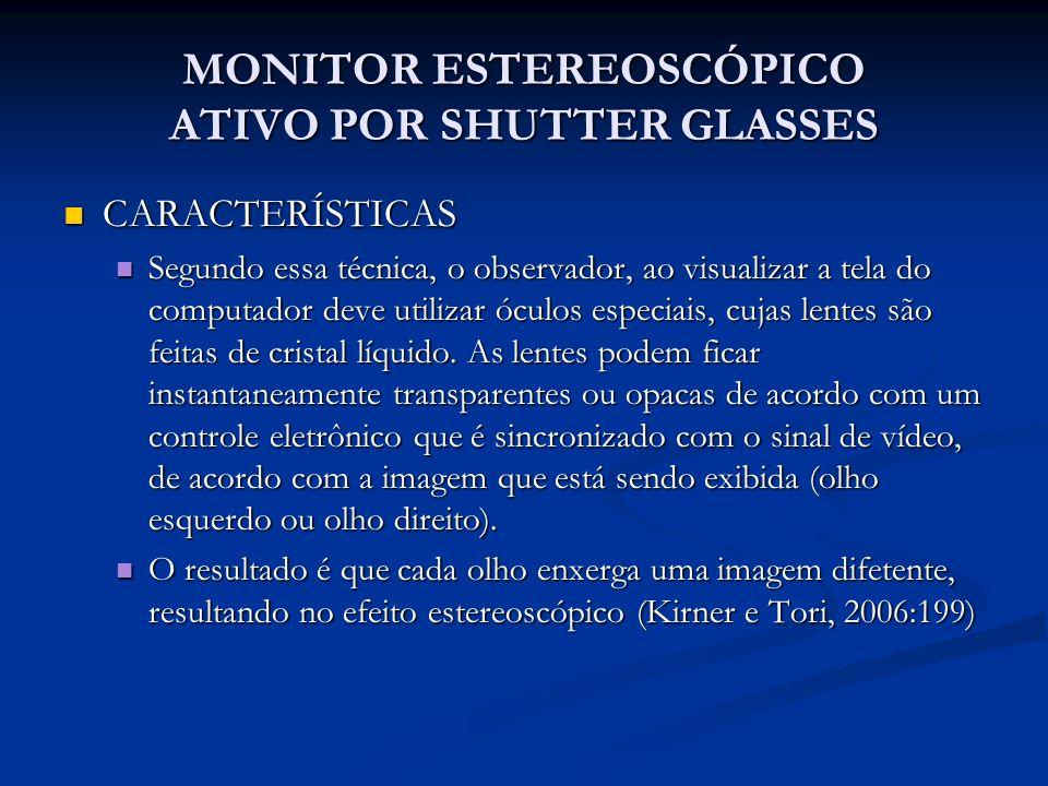 MONITOR ESTEREOSCÓPICO ATIVO POR SHUTTER GLASSES CARACTERÍSTICAS CARACTERÍSTICAS Segundo essa técnica, o observador, ao visualizar a tela do computado