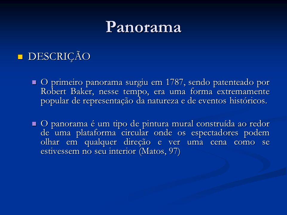 Panorama DESCRIÇÃO DESCRIÇÃO O primeiro panorama surgiu em 1787, sendo patenteado por Robert Baker, nesse tempo, era uma forma extremamente popular de