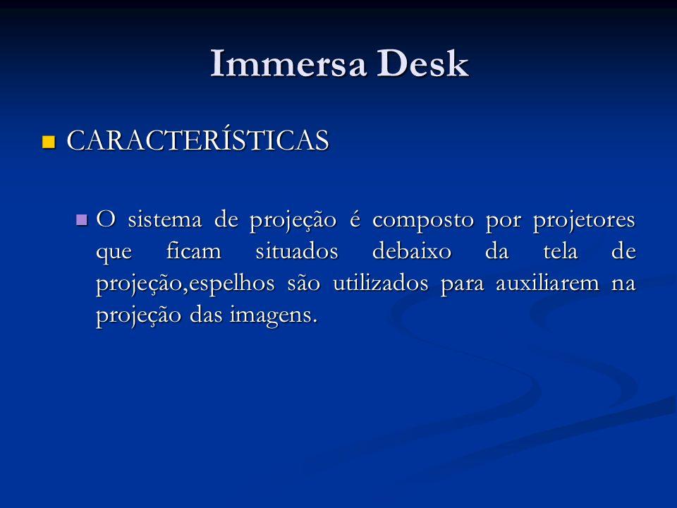 Immersa Desk CARACTERÍSTICAS CARACTERÍSTICAS O sistema de projeção é composto por projetores que ficam situados debaixo da tela de projeção,espelhos s