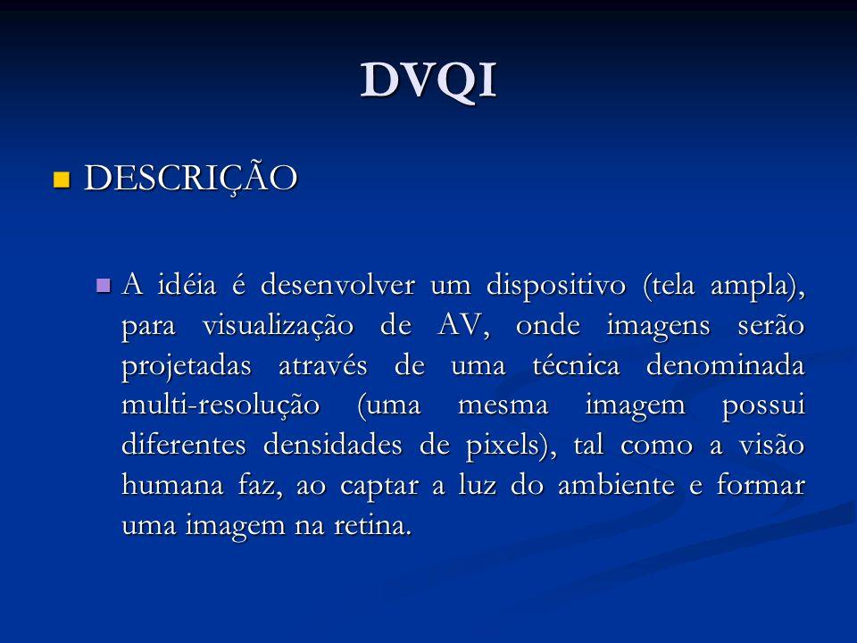 DVQI DESCRIÇÃO DESCRIÇÃO A idéia é desenvolver um dispositivo (tela ampla), para visualização de AV, onde imagens serão projetadas através de uma técn