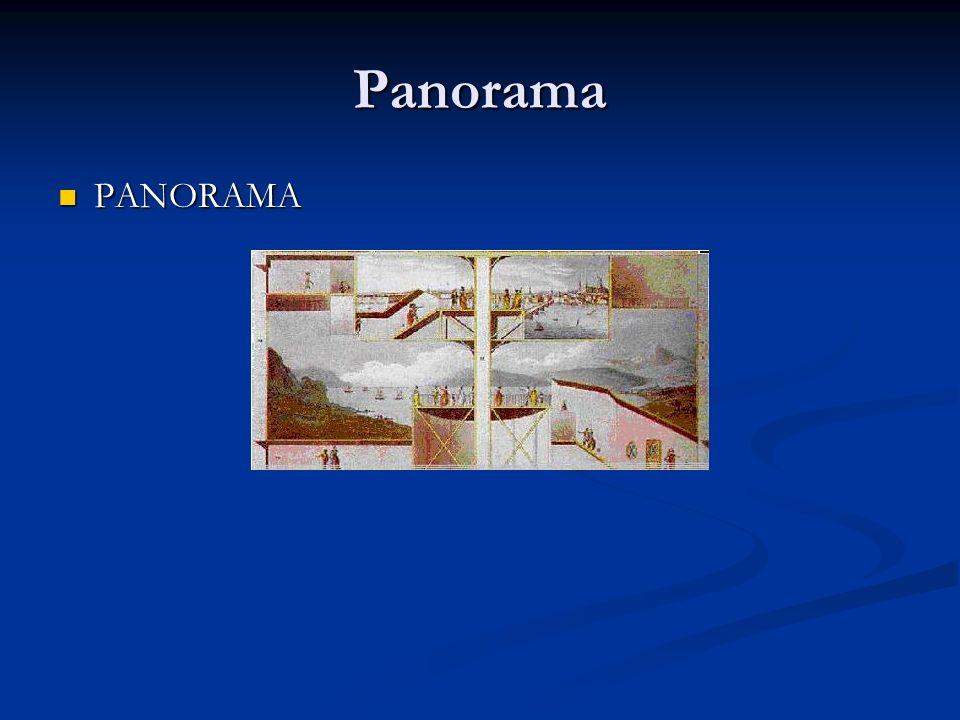 Panorama CARACTERÍSTICAS CARACTERÍSTICAS Os panoramas eram normalmente construídos em prédios com dois ou três andares, de modo que os espectadores pudessem passar por ambientes diferentes (Comment, 1993).