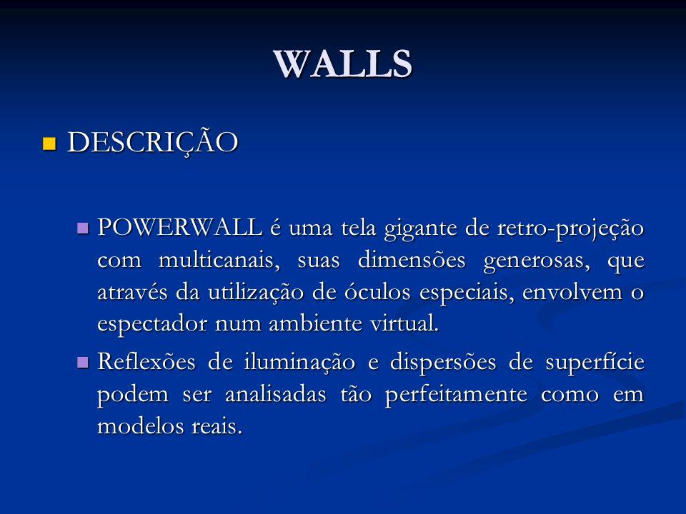 WALLS DESCRIÇÃO DESCRIÇÃO POWERWALL é uma tela gigante de retro-projeção com multicanais, suas dimensões generosas, que através da utilização de óculo