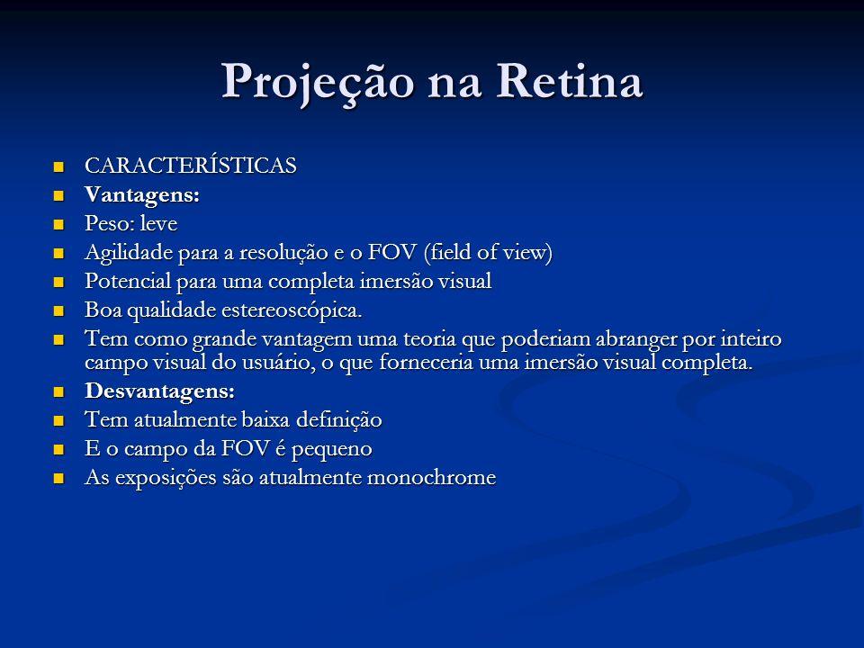 Projeção na Retina CARACTERÍSTICAS CARACTERÍSTICAS Vantagens: Vantagens: Peso: leve Peso: leve Agilidade para a resolução e o FOV (field of view) Agil