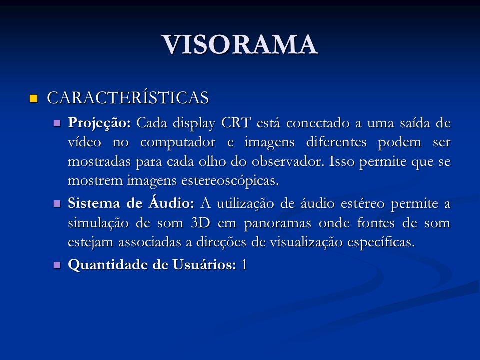 VISORAMA CARACTERÍSTICAS CARACTERÍSTICAS Projeção: Cada display CRT está conectado a uma saída de vídeo no computador e imagens diferentes podem ser m
