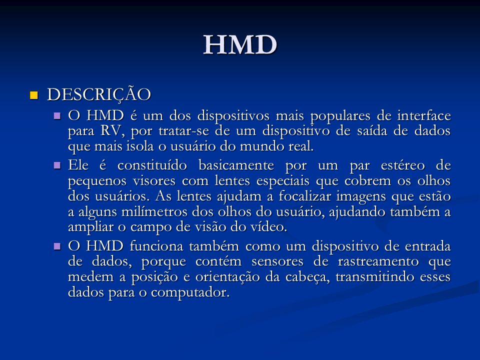 HMD DESCRIÇÃO DESCRIÇÃO O HMD é um dos dispositivos mais populares de interface para RV, por tratar-se de um dispositivo de saída de dados que mais is