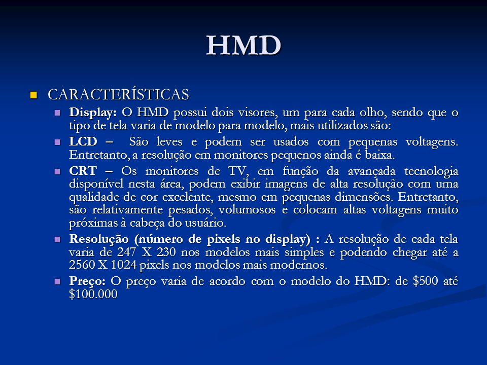 HMD CARACTERÍSTICAS CARACTERÍSTICAS Display: O HMD possui dois visores, um para cada olho, sendo que o tipo de tela varia de modelo para modelo, mais