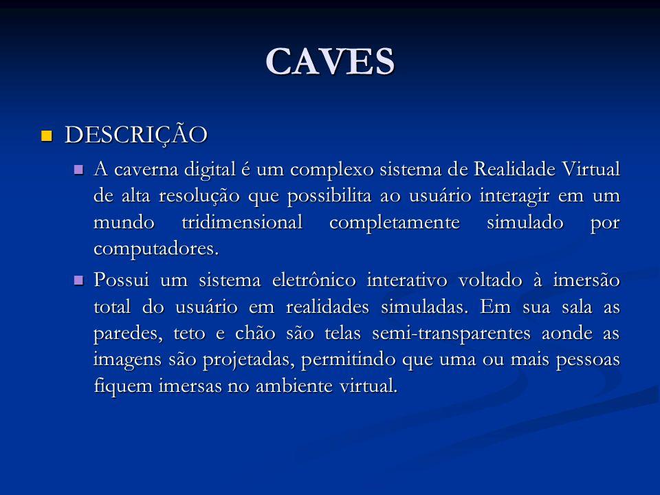 CAVES DESCRIÇÃO DESCRIÇÃO A caverna digital é um complexo sistema de Realidade Virtual de alta resolução que possibilita ao usuário interagir em um mu