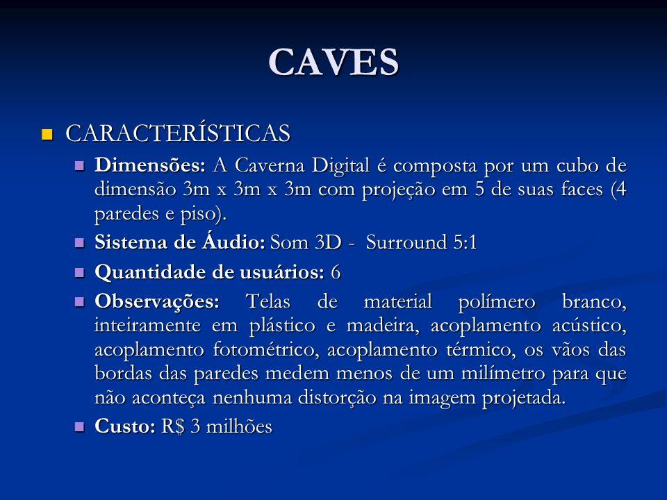 CAVES CARACTERÍSTICAS CARACTERÍSTICAS Dimensões: A Caverna Digital é composta por um cubo de dimensão 3m x 3m x 3m com projeção em 5 de suas faces (4