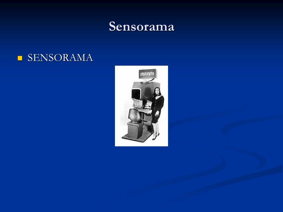 Sensorama CARACTERÍSTICAS CARACTERÍSTICAS O Sensorama era uma espécie de cabine que combinava filmes 3D, som estéreo, vibrações mecânicas, aromas, e ar movimentado por ventiladores; tudo isso para proporcionar ao espectador uma viagem multisensorial (Pimentel, 1995).