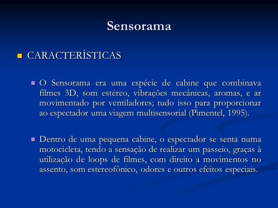 Sensorama CARACTERÍSTICAS CARACTERÍSTICAS O Sensorama era uma espécie de cabine que combinava filmes 3D, som estéreo, vibrações mecânicas, aromas, e a