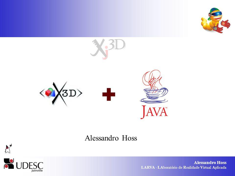 Alessandro Hoss LARVA - LAboratório de Realidade Virtual Aplicada Tipos de campos SFFloat / MFFloat: até 6 dígitos de precisão decimal; SFImage / MFImage: Imagem 2D sem compressão.