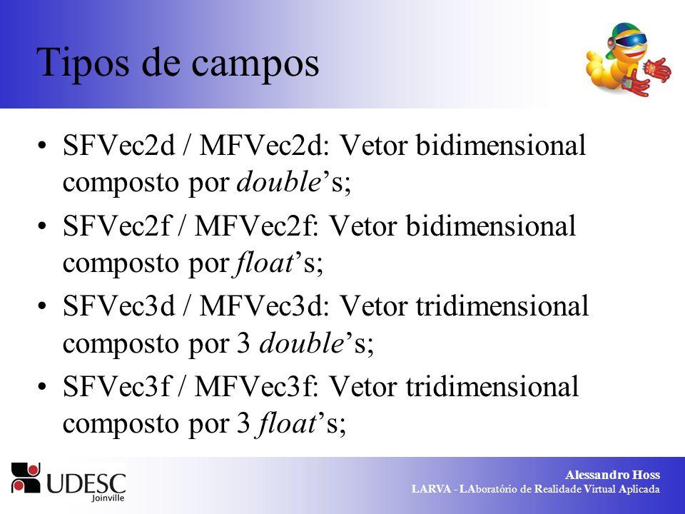 Alessandro Hoss LARVA - LAboratório de Realidade Virtual Aplicada Tipos de campos SFVec2d / MFVec2d: Vetor bidimensional composto por doubles; SFVec2f / MFVec2f: Vetor bidimensional composto por floats; SFVec3d / MFVec3d: Vetor tridimensional composto por 3 doubles; SFVec3f / MFVec3f: Vetor tridimensional composto por 3 floats;