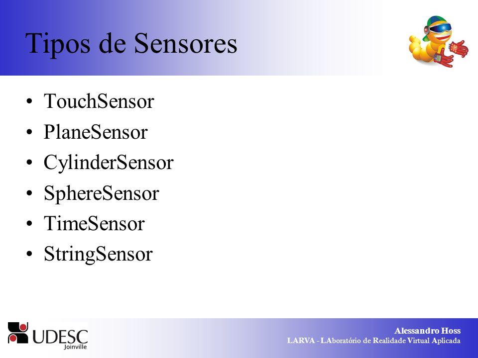 Alessandro Hoss LARVA - LAboratório de Realidade Virtual Aplicada Tipos de Sensores TouchSensor PlaneSensor CylinderSensor SphereSensor TimeSensor Str