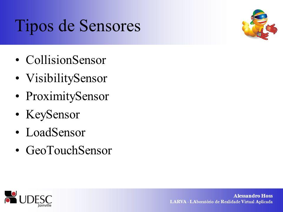 Alessandro Hoss LARVA - LAboratório de Realidade Virtual Aplicada Tipos de Sensores CollisionSensor VisibilitySensor ProximitySensor KeySensor LoadSen