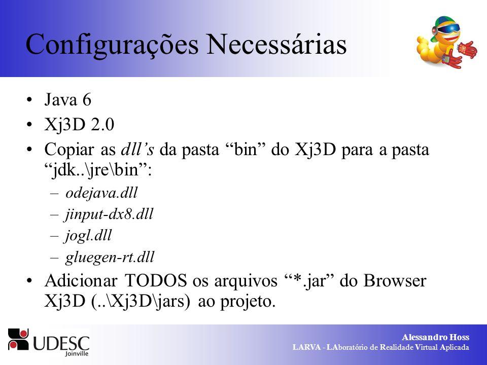 Alessandro Hoss LARVA - LAboratório de Realidade Virtual Aplicada Configurações Necessárias Java 6 Xj3D 2.0 Copiar as dlls da pasta bin do Xj3D para a