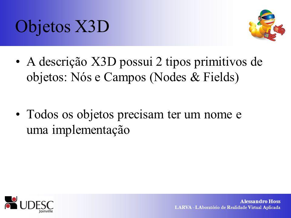 Alessandro Hoss LARVA - LAboratório de Realidade Virtual Aplicada Objetos X3D A descrição X3D possui 2 tipos primitivos de objetos: Nós e Campos (Nodes & Fields) Todos os objetos precisam ter um nome e uma implementação