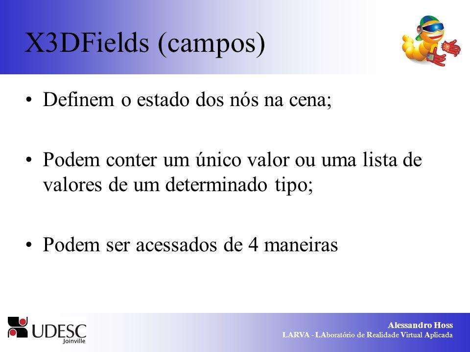 Alessandro Hoss LARVA - LAboratório de Realidade Virtual Aplicada Formas de acesso aos campos initializeOnly: permite que um valor seja atribuído ao campo, porém este não pode ser alterado após a cena ser carregada; inputOnly: permite que um evento seja recebido para alterar o valor de um campo; outputOnly: permite mostrar o valor em um determinado campo; inputOutput: acesso completo ao campo