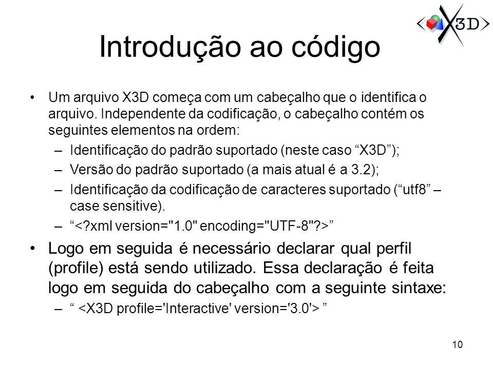 Introdução ao código Um arquivo X3D começa com um cabeçalho que o identifica o arquivo. Independente da codificação, o cabeçalho contém os seguintes e