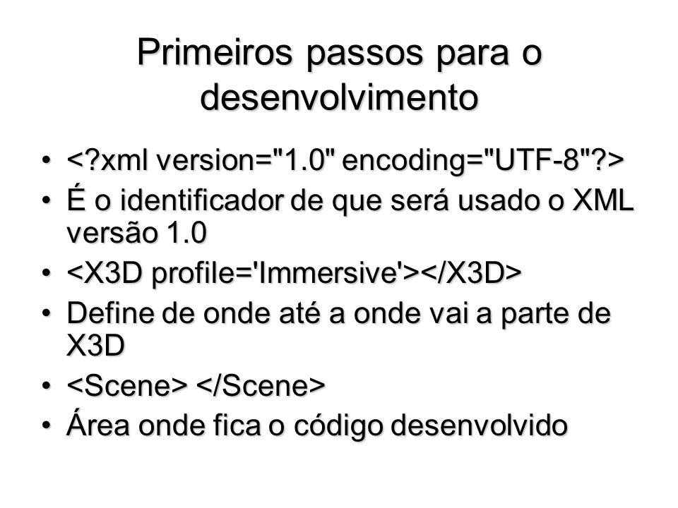 Primeiros passos para o desenvolvimento É o identificador de que será usado o XML versão 1.0É o identificador de que será usado o XML versão 1.0 Defin