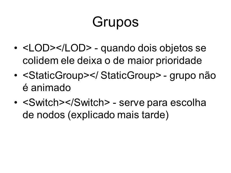 Grupos - quando dois objetos se colidem ele deixa o de maior prioridade - grupo não é animado - serve para escolha de nodos (explicado mais tarde)