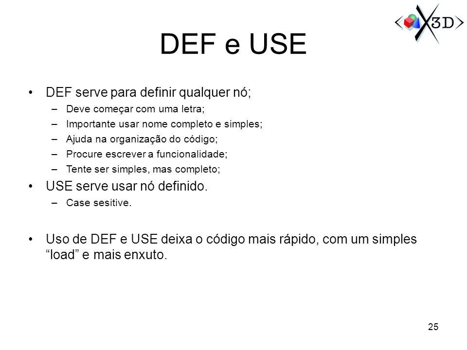 DEF e USE DEF serve para definir qualquer nó; –Deve começar com uma letra; –Importante usar nome completo e simples; –Ajuda na organização do código;