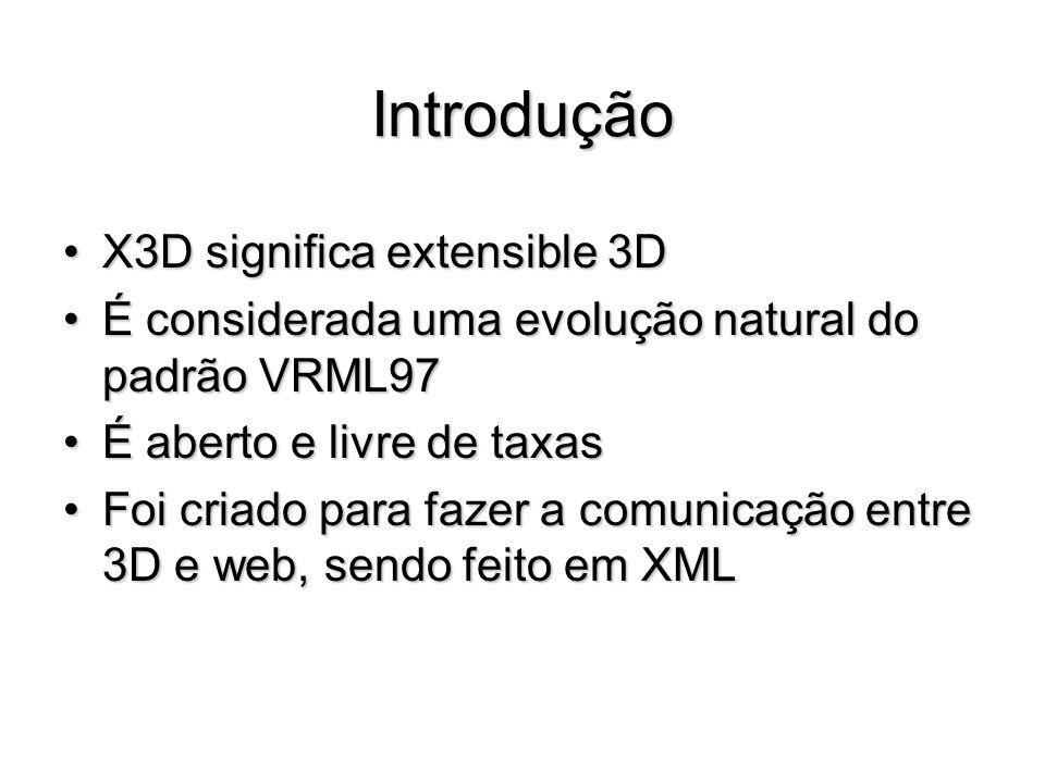 Introdução X3D significa extensible 3DX3D significa extensible 3D É considerada uma evolução natural do padrão VRML97É considerada uma evolução natura
