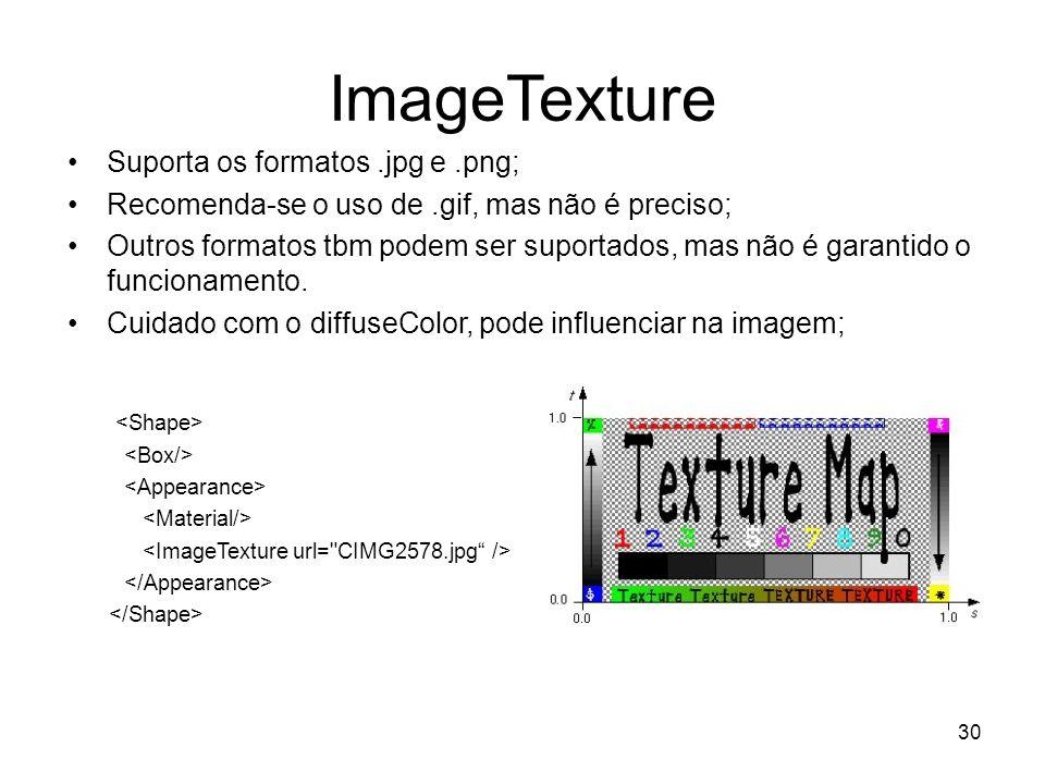 ImageTexture Suporta os formatos.jpg e.png; Recomenda-se o uso de.gif, mas não é preciso; Outros formatos tbm podem ser suportados, mas não é garantid