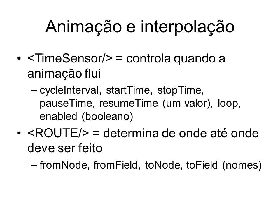 Animação e interpolação = controla quando a animação flui –cycleInterval, startTime, stopTime, pauseTime, resumeTime (um valor), loop, enabled (boolea