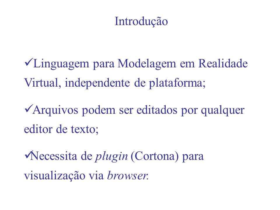 Introdução Linguagem para Modelagem em Realidade Virtual, independente de plataforma; Arquivos podem ser editados por qualquer editor de texto; Necessita de plugin (Cortona) para visualização via browser.