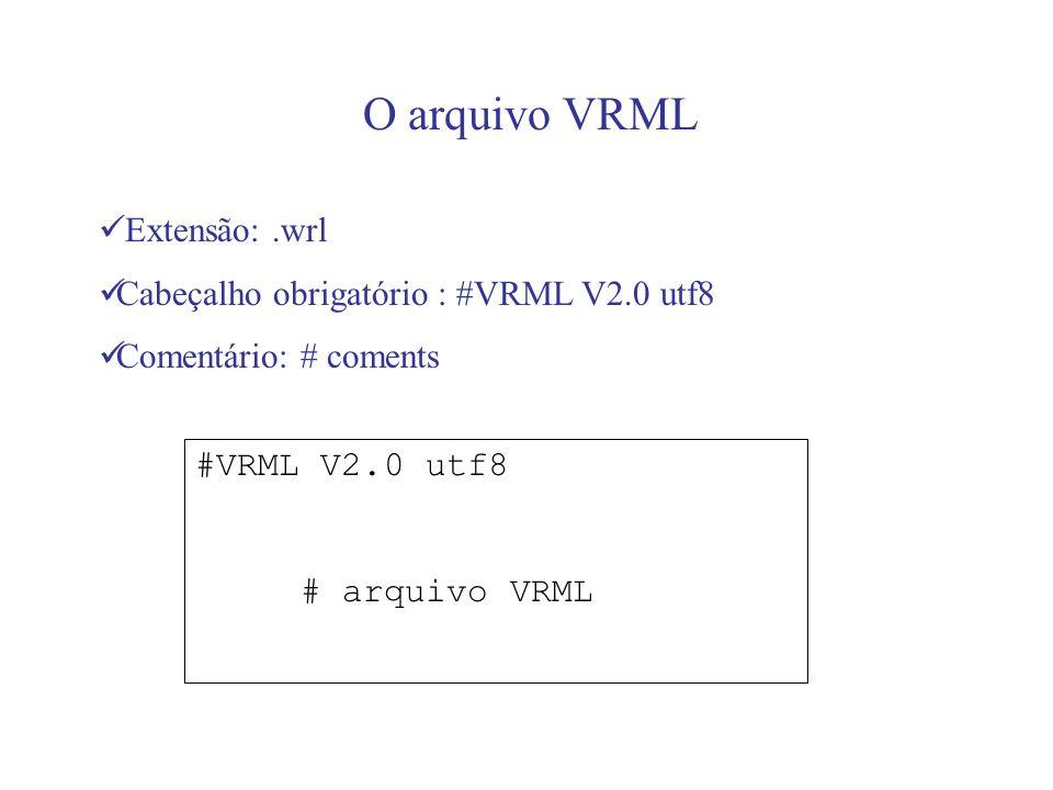 O arquivo VRML Extensão:.wrl Cabeçalho obrigatório : #VRML V2.0 utf8 Comentário: # coments #VRML V2.0 utf8 # arquivo VRML