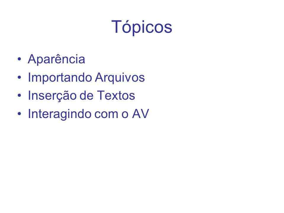Tópicos Aparência Importando Arquivos Inserção de Textos Interagindo com o AV