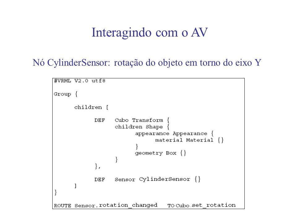Interagindo com o AV Nó CylinderSensor: rotação do objeto em torno do eixo Y