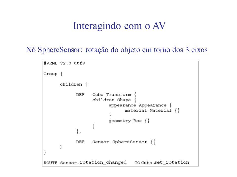 Interagindo com o AV Nó SphereSensor: rotação do objeto em torno dos 3 eixos