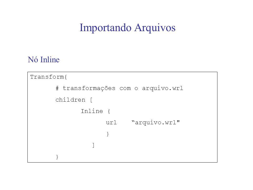 Importando Arquivos Nó Inline Transform{ # transformações com o arquivo.wrl children [ Inline { urlarquivo.wrl