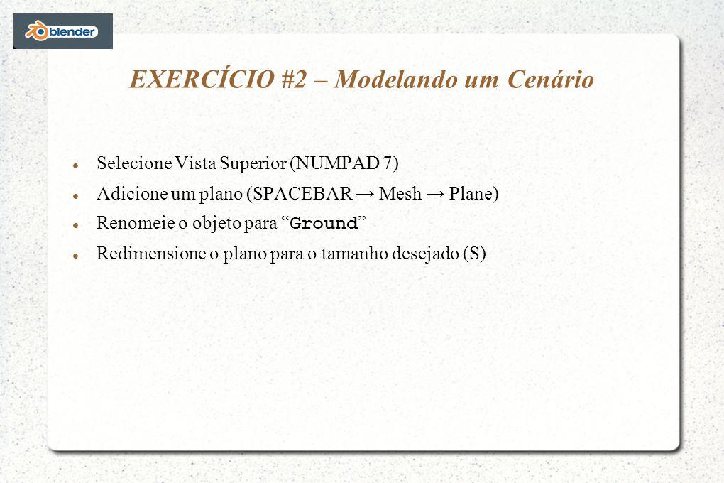 EXERCÍCIO #2 – Modelando um Cenário Selecione Vista Superior (NUMPAD 7) Adicione um plano (SPACEBAR Mesh Plane) Renomeie o objeto para Ground Redimensione o plano para o tamanho desejado (S)